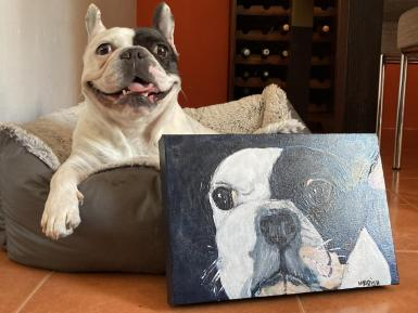 The competition was won by Emma Rebbetts who lives in Xàtiva and who received a portrait of rescued French bulldog, Shelly.