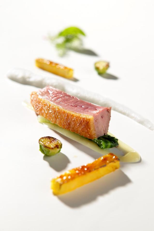 Slow cooked duck breast with eucalyptus