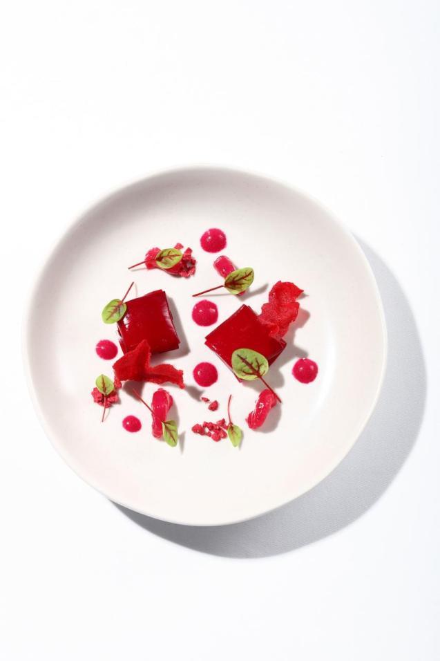 """Chilled beetroot gazpacho with marinated prawns, horseradish """"ravioli"""", pistachio & mandarin"""