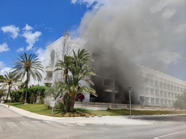 Dense smoke in the tourist building