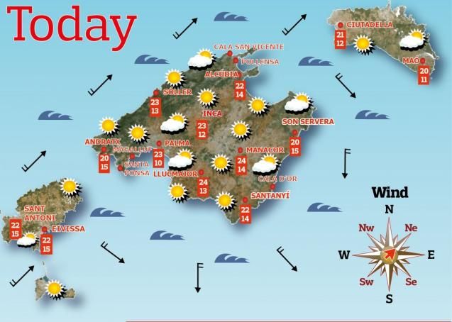 Weather forecast for the Balearic Islands for Thursday, May 13