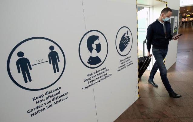 Passenger walks at Brussels international airport
