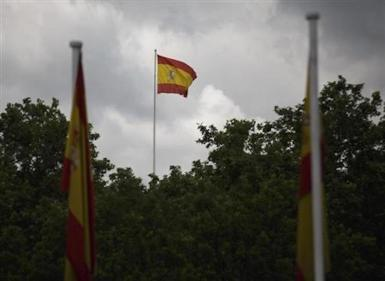 Spanish flag, Madrid. archive photo.