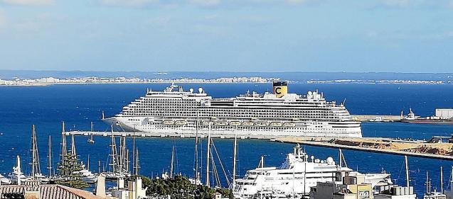 Cruise ship at the port in Palma, Mallorca