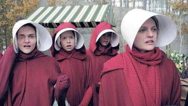 A scene from the HBO Dramatisation of The Handmaids Tale.
