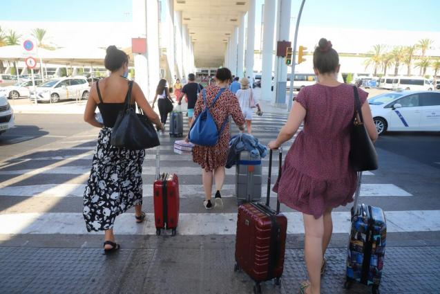 Tourists arriving at Palma Son Sant Joan Airport in summer 2020