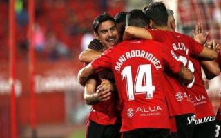 Real Mallorca players celebrate against Alcorcón