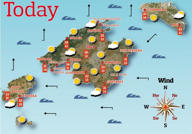 Weather forecast for the Balearic Islands for Tuesday, May 18