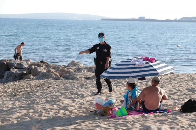 Palma police officer on one of the city's beaches
