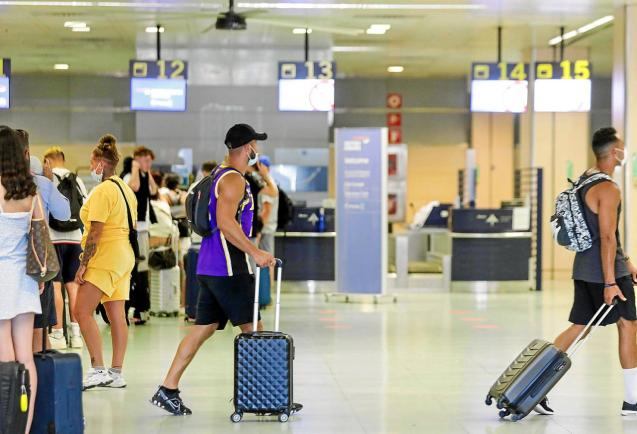 British tourists arriving at the airport