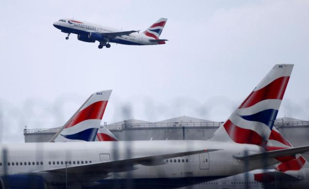 BA Airbus A319 aircraft takes off from Heathrow Airport in London