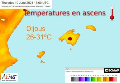 Temperatures on the rise on the Balearic Islands.