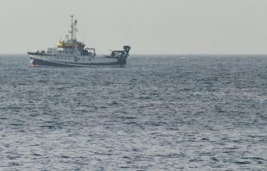 The Spanish vessel Angeles Alvarino carries out a search operation near the coast of Tenerife island.
