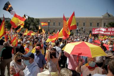 Demonstration against Spanish government's plan to pardon Catalan politicians.