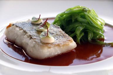 Hake with green beans.