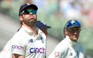 England's James Anderson reacts