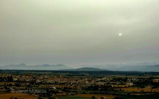 Dust in the air during sunset in Montuïri from Puig de Sant Miquel