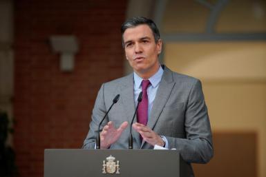 Spain's Prime Minister Pedro Sanchez delivers a statement as he announces pardons for jailed Catalan separatist leaders