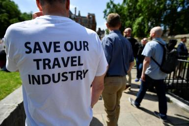 Demonstration against COVID-19 travel restrictions in London.