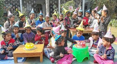 Children celebrating the 11th anniversary of the DARE home in Varanasi. recent photo.