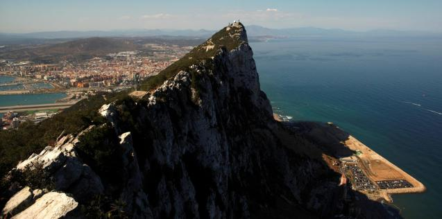 The Spanish city of La Linea de la Concepcion, and the top of the Rock, a monolithic limestone promontory, are seen next to the