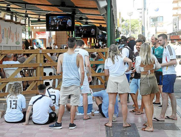 German tourists in Mallorca gather for a Euro 2020 match
