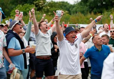 England fans celebrate after watching the Euro 2020