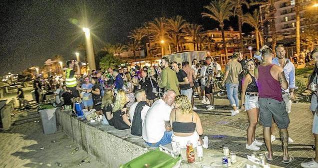 Tourists drinking in Playa de Palma.