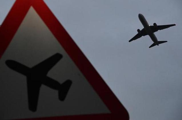 Plane taking off from Heathrow Airport in London.