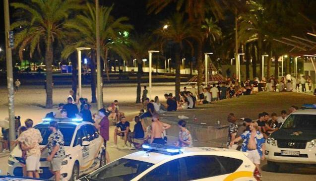 Crowds in the streets in Palma.