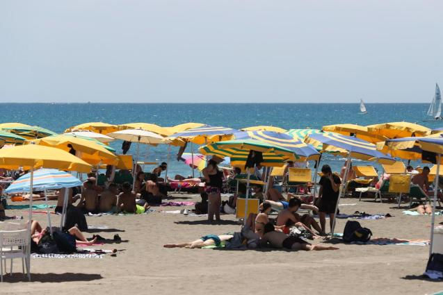 Germans are staying on the beach.
