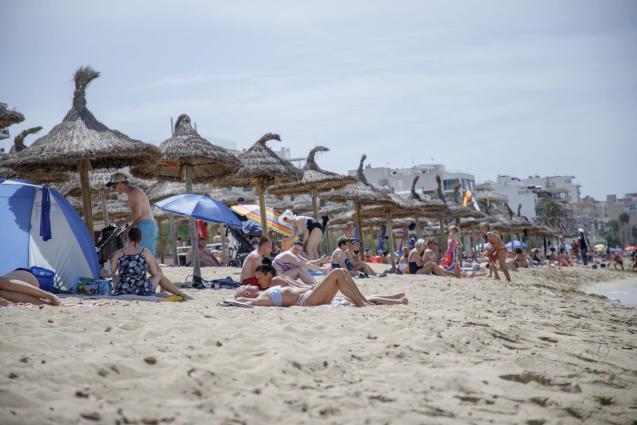Tourists at the Playa de Palma
