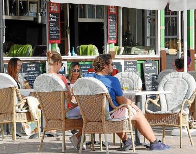 Tourists on the Playa de Palma.