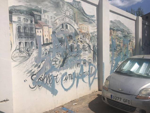 Murals in Soller Mallorca destroyed by graffiti