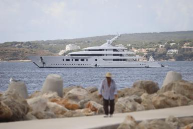Super yacht Bliss is seen off Puerto Portals.