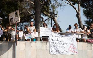 Protest last week in Inca against bullfighting