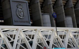Construction work at Real Madrid's Santiago Bernabeu stadium.