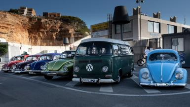 Some of the Beetles with a rather neat bus.