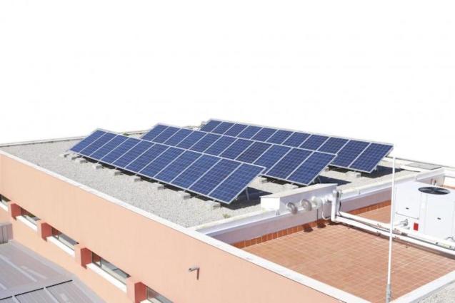 Solar panels in Mahón, Mallorca.