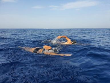 Caroline had a swimmer alongside for about three of the six hours.