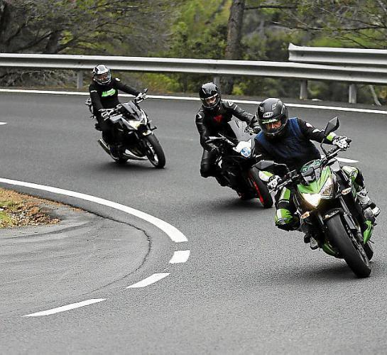 Motorbike riders in the Tramuntana Mountains, Mallorca
