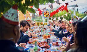 August traditions in the Nordic countries are a lot about crayfish party with a special cheese pie and alcoholic snaps.