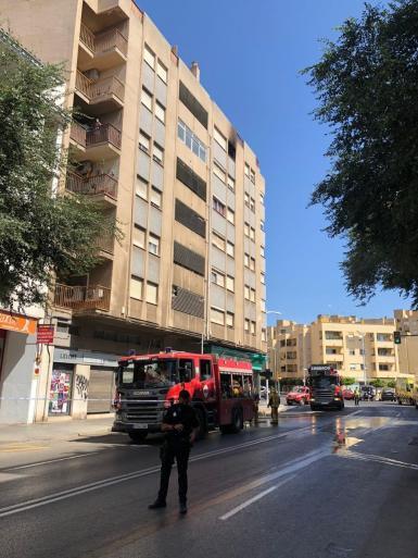 Fire brigade at the scene.