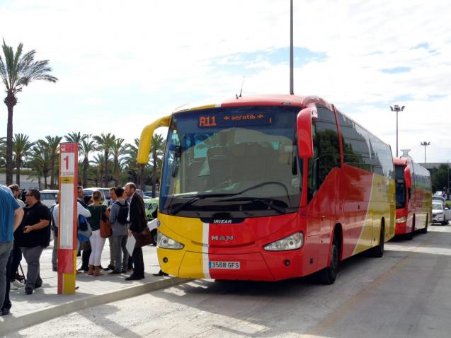 Aerotib bus for the route between Palma Airport and Camp de Mar, Mallorca