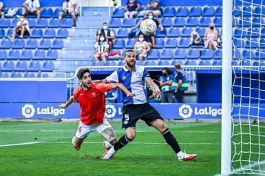 Fer Niño (L) scores Mallorca's winner.