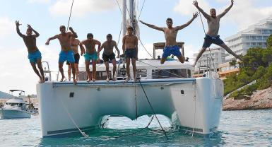 A catamaran is usually hired for a week.