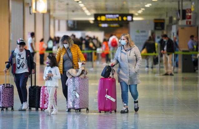 Holidaymakers arriving at Palma Son Sant Joan Airport, Mallorca