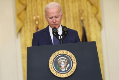 U.S. President Joe Biden looks down as he delivers remarks about Afghanistan, from the East Room of the White House in Washington, U.S. August 26, 2021. REUTERS/Jonathan Ernst AFGHANISTAN-CONFLICT/USA-BIDEN