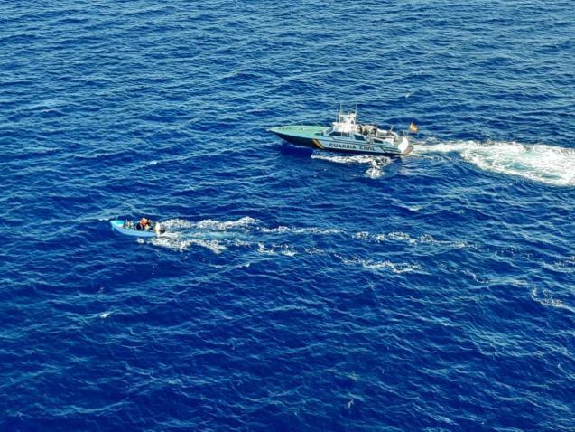 Guardia Civil intercepting a migrant boat in the Balearics,