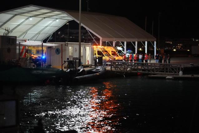Emergency services at the port in Ibiza.